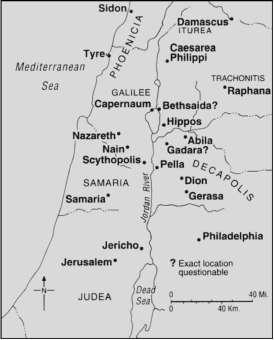 MAP—Jesus' Ministry beyond Galilee - Bible Study - New Testament on